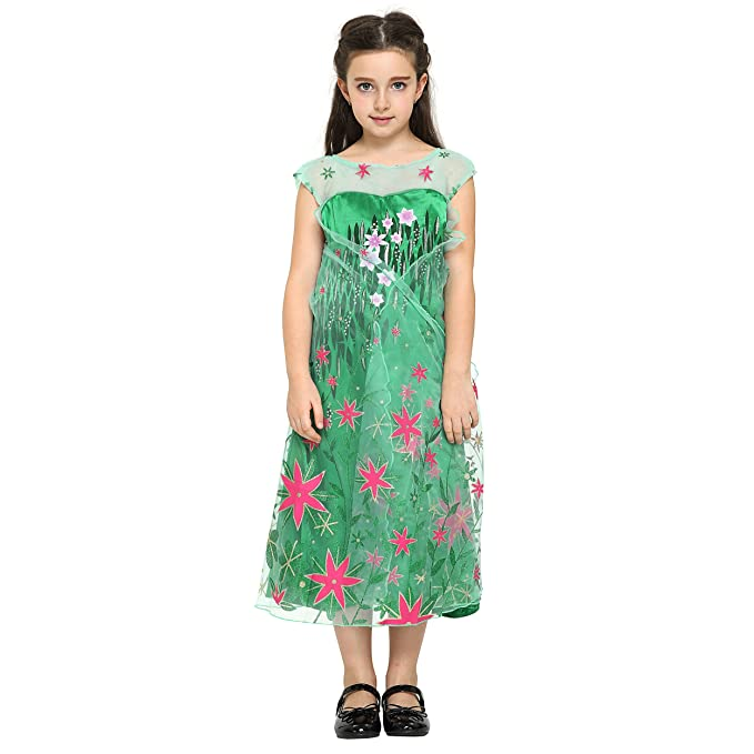 Katara - Disfraz de la princesa Elsa - Frozen Fever - vestido verde estampado con flores rojas de la Reina de las Nieves, traje de fiesta para niñas - 4-5 ...