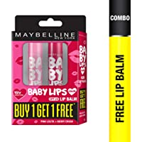 Maybelline New York Baby lips, 4g (Buy 1 Get 1 Free, Cherry Kiss + Berry Crush)