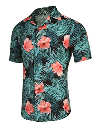 fbfe1f28 Men's Tropical Floral Vacation Shirt Casual Button Down Short Sleeve  Hawaiian Shirts Black S