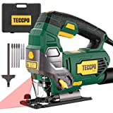 Jigsaw, TECCPO Handle Jigsaw 6.5 Amp 3000SPM Variable Speed Corded Jig Saw with Laser, 6pcs Blades, Carrying Case, Scale…