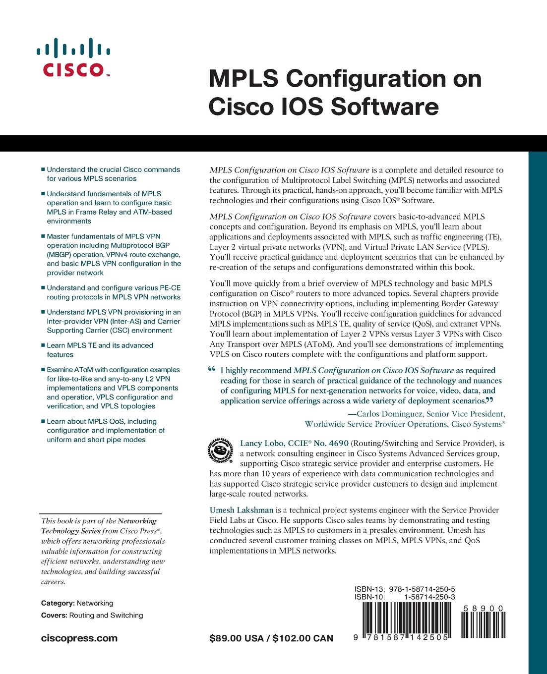 MPLS Configuration on Cisco IOS Software (paperback): Umesh Lakshman