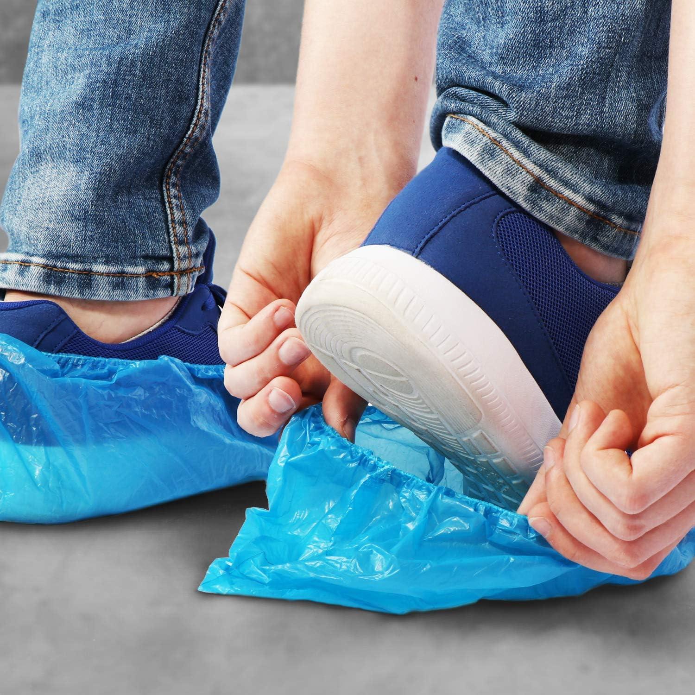 Couvre-Chaussures en Taille Unique com-four/® Couvre-Chaussures jetables 100x Couvre-Chaussures en Plastique Chaussures jetables /étanches