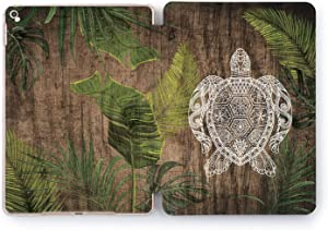 Wonder Wild Turtle Wood Design Case for Apple iPad Pro 9.7 11 inch Mini 1 2 3 4 Air 2 10.5 12.9 11 10.2 5th 6th Gen Clear Smart Hard Cover Wooden Tropical Mandala Decoration Nature Palm Leaves