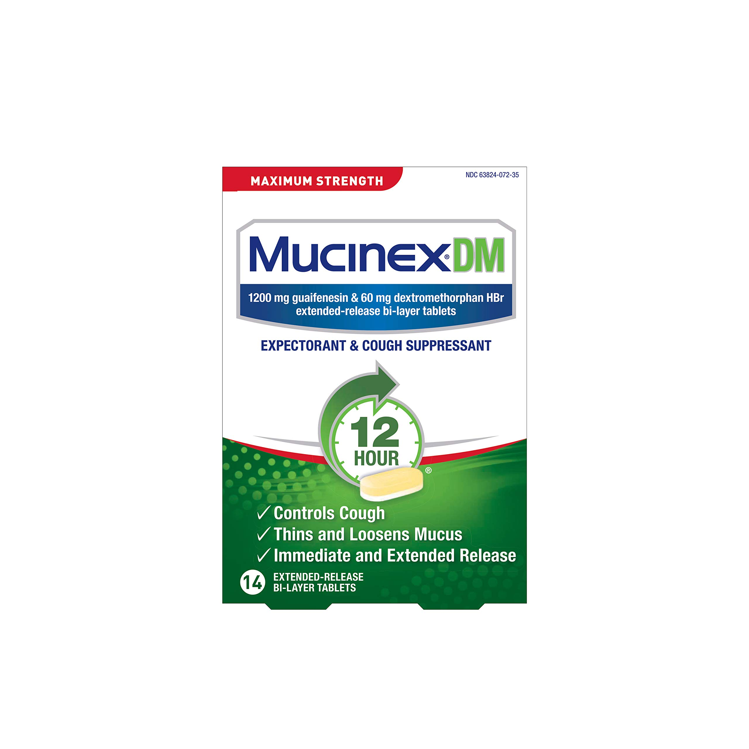 Cough Suppressant and Expectorant, Mucinex DM Maximum Strength 12 Hour Tablets, 14ct, 1200 mg Guaifenesin, Relieves Chest Congestion, Quiets Wet and Dry Cough, #1 Doctor Recommended OTC expectorant