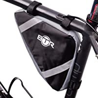 BTR Pannier Corner Frame Bike Storage Bag - Water Resistant - Black With High Visibility Stripes