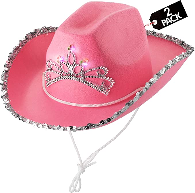 4 Pack Blue Panda Pink Sparkly Western Cowboy and Cowgirl Hats for Kids