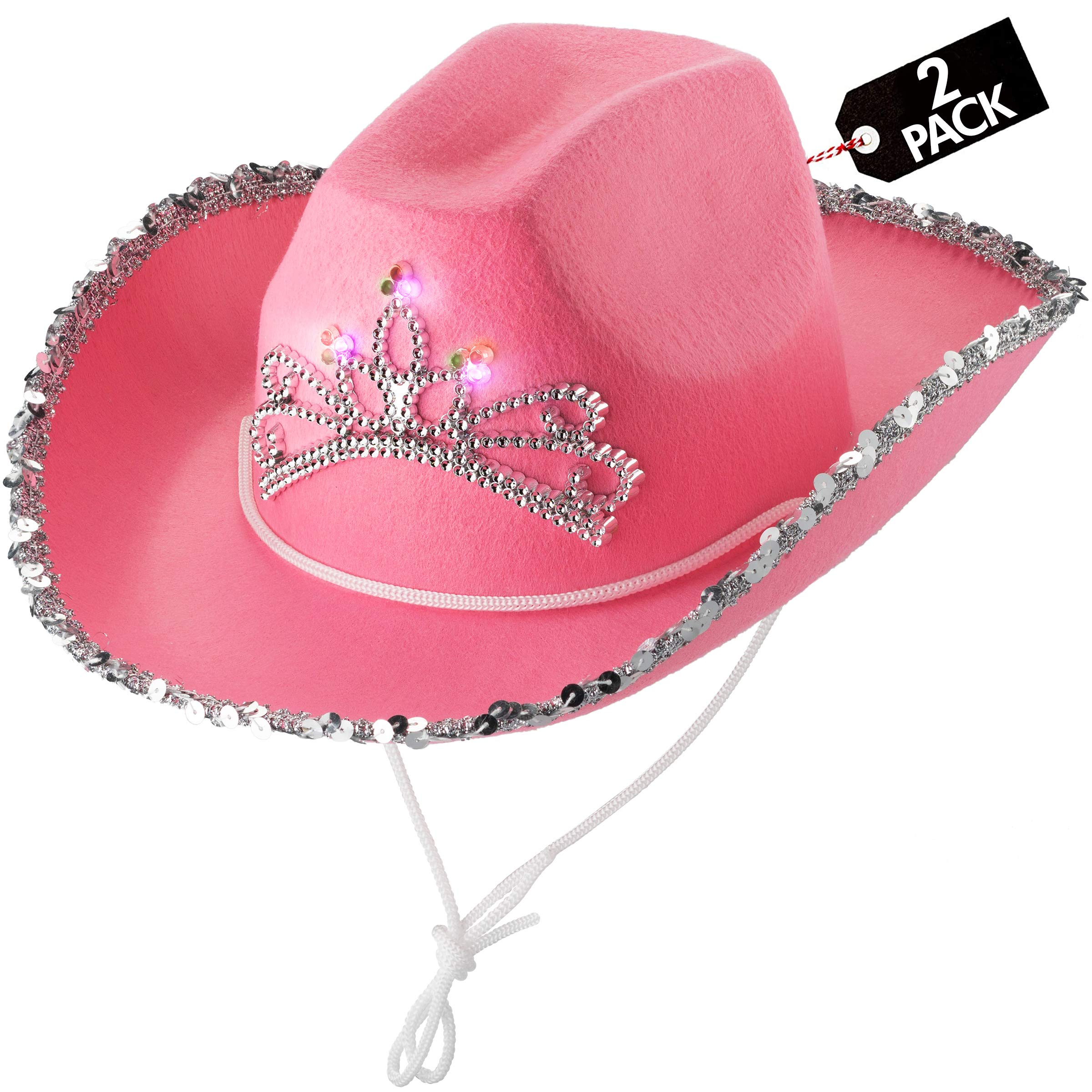Light-Up Pink Cowgirl Hat - (Pack of 2) Child Blinking Cow Girl Hats with Tiara and Neck Draw String - Felt Cowboy Costume Accessories for Kids Party Hat and Play Dress-Up