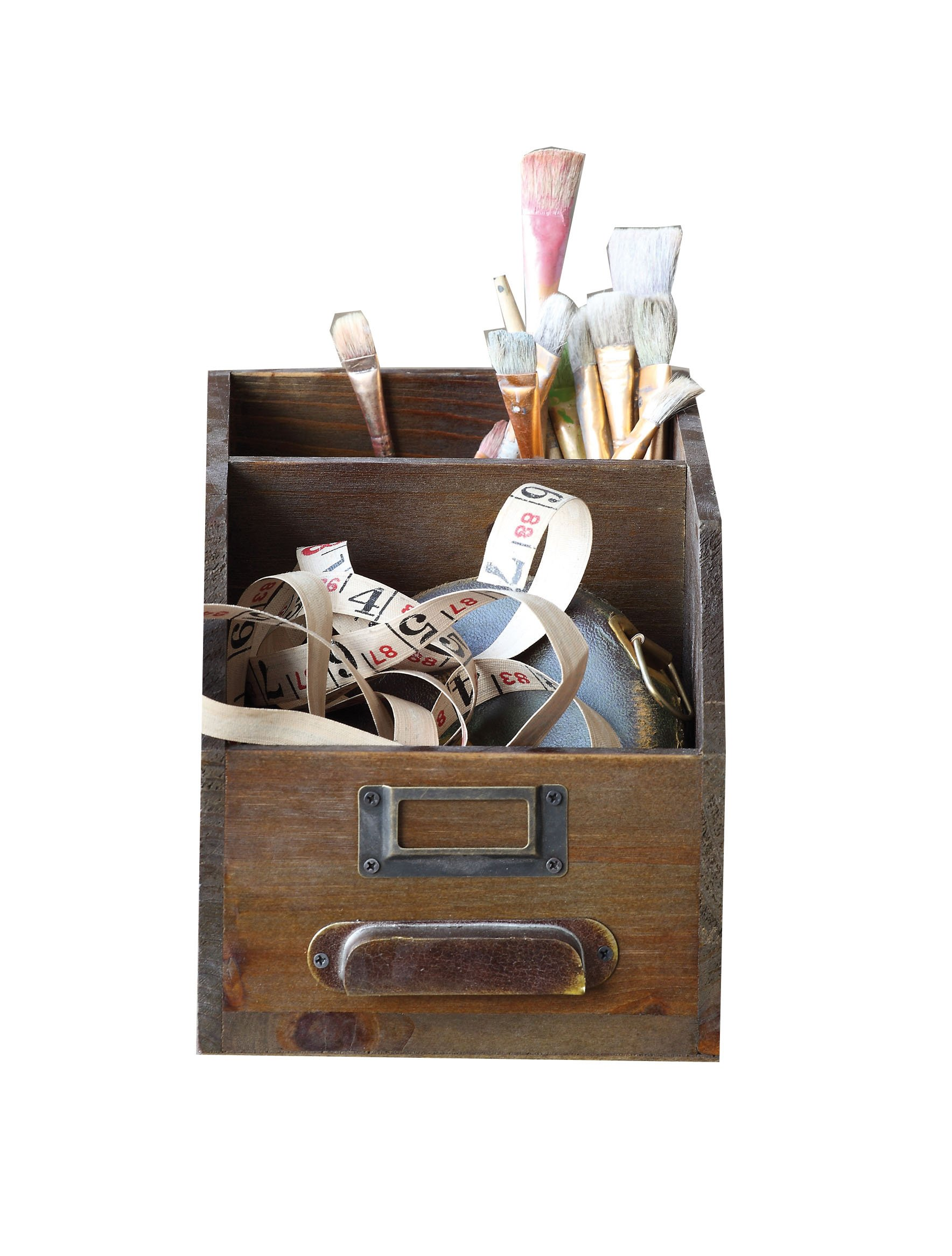 Creative Co-op DA2569 2-Section Wood Bin with Handle & Label Holder