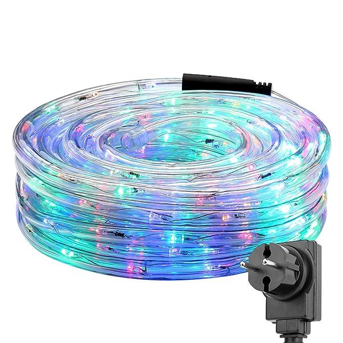 LE 10MTube Lumineux Multicolore Guirlande Extérieure LED Couleur, 6W 240 LEDs, Résistant à l'Eau pour Décoration Jardin Couloir Cour Allée Patio Piscine Ambiance Noël Soiré