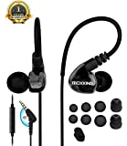Running Sports Earbud Headphones Wired Over Ear In Ear Headsets Noise Isolation waterproof Earbuds Enhanced Bass Stereo Earphones with Microphone and Remote for Running Jogging Gym (black)