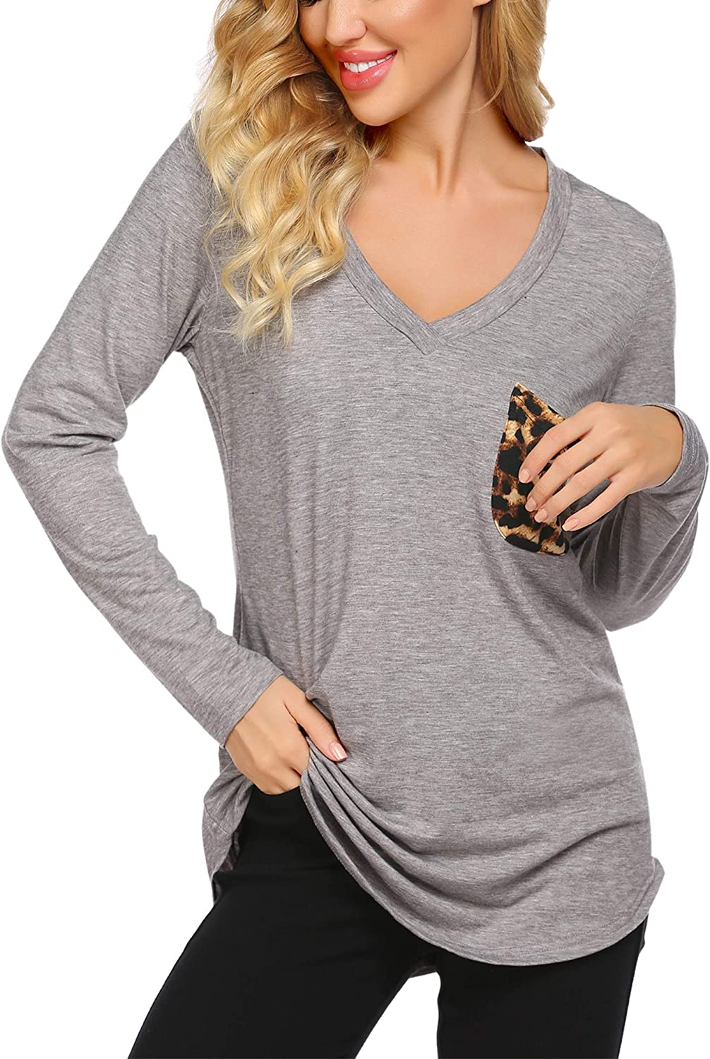 Misakia Womens T-Shirts Long Sleeve V-Neck Blouses Loose Casual Tops with Front Pocket