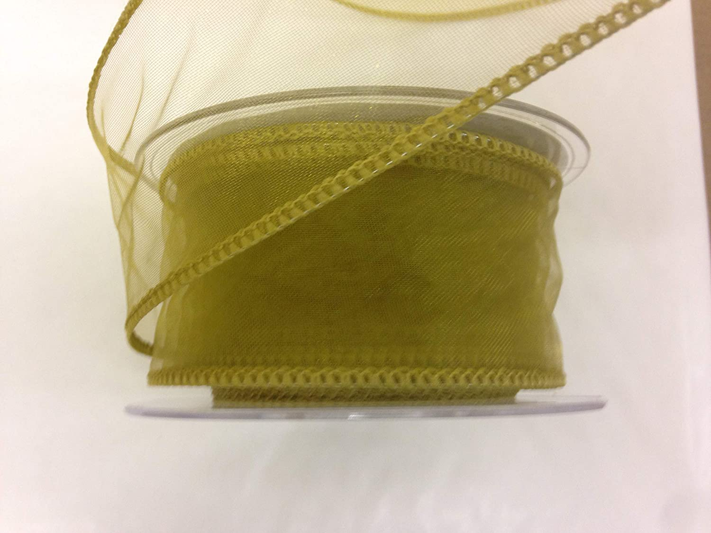 20m Per Roll Gold Wire Edged Organza Ribbon 50mm Width
