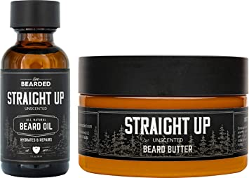 Live Bearded: Beard Oil and Beard Butter Grooming Kit - Straight Up - All-Natural Ingredients with Shea Butter, Argan Oil, Jojoba Oil and More - Beard Growth Support - Made in the USA