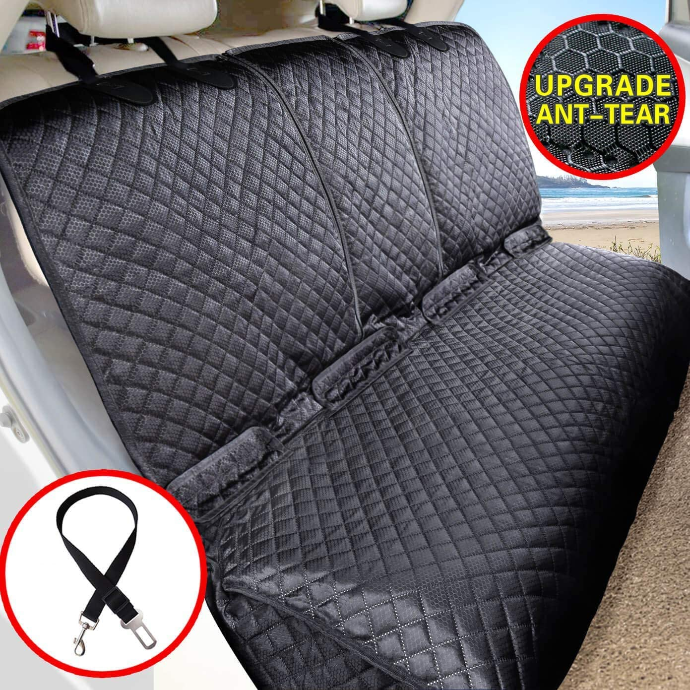 Vailge Bench Dog Car Seat Cover for Back Seat, 100 Waterproof Dog Car Seat Covers, Heavy-Duty Nonslip Back Seat Cover for Dogs,Washable Compatible Pet Car Seat Cover for Cars, Trucks SUVs