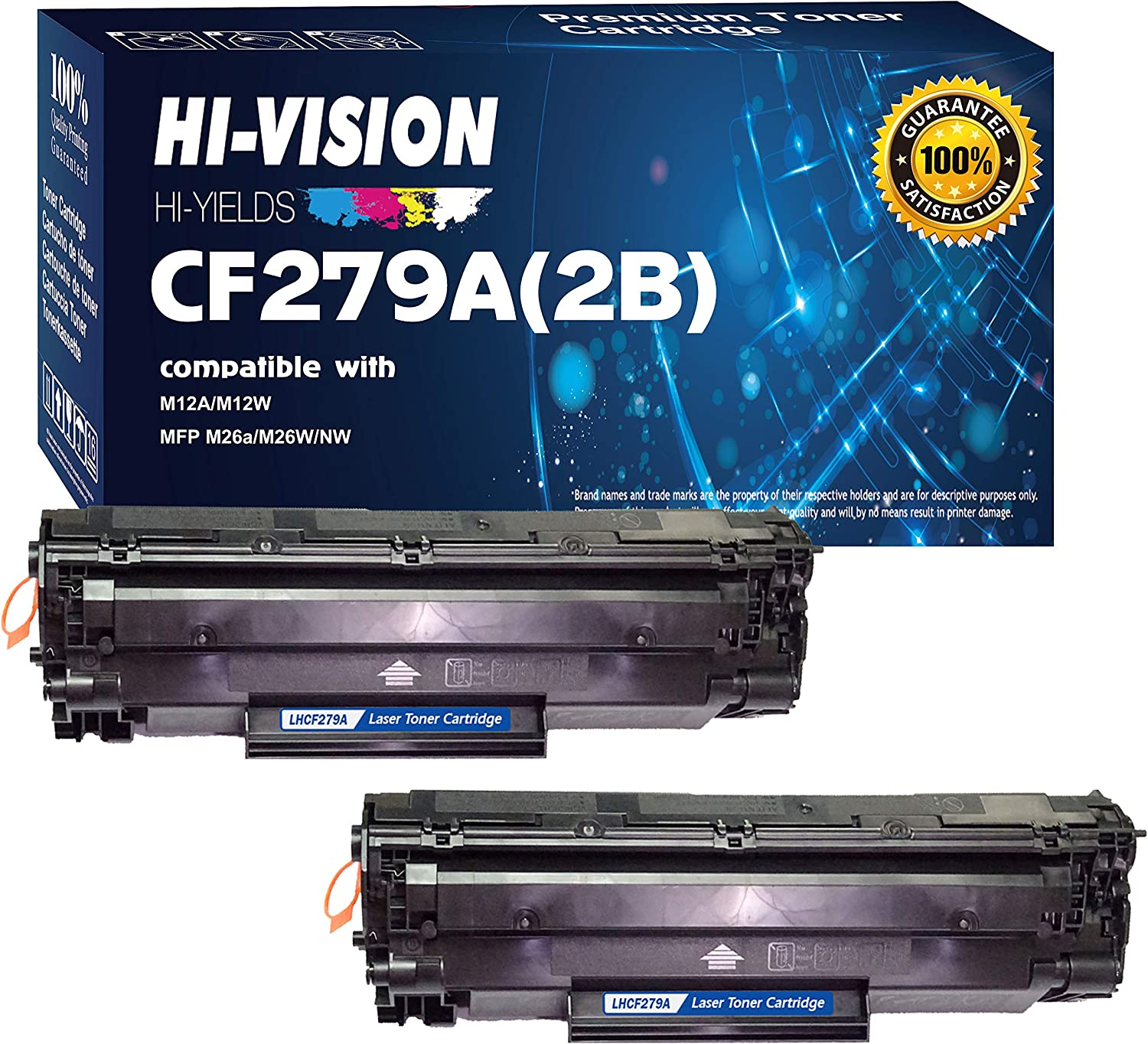 (2 Black-Pack) HI-VISION HI-YIELDS Compatible 79A CF279A Toner Cartridge Replacement [1,000 Pages Each], Used in HP Laserjet Pro M12w, M12a, MFP M26nw, M26a