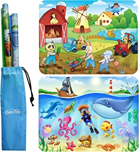 2-Pack Farm & Sealife Silicone Placemats for Toddlers Non Slip, Baby Placemats That Stick to Table, Silicone Placemats for Baby, Kids, Toddlers - Suction Mats for Toddlers - Placemat for Dining Table