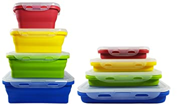 Collapsible Food Storage Containers 4 SET by Driffy Collapsible