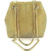 Women Girls Crystal Rhinestone Mini Bucket Evening Bags Handbags Wedding Clutch Shoulder Purse Party