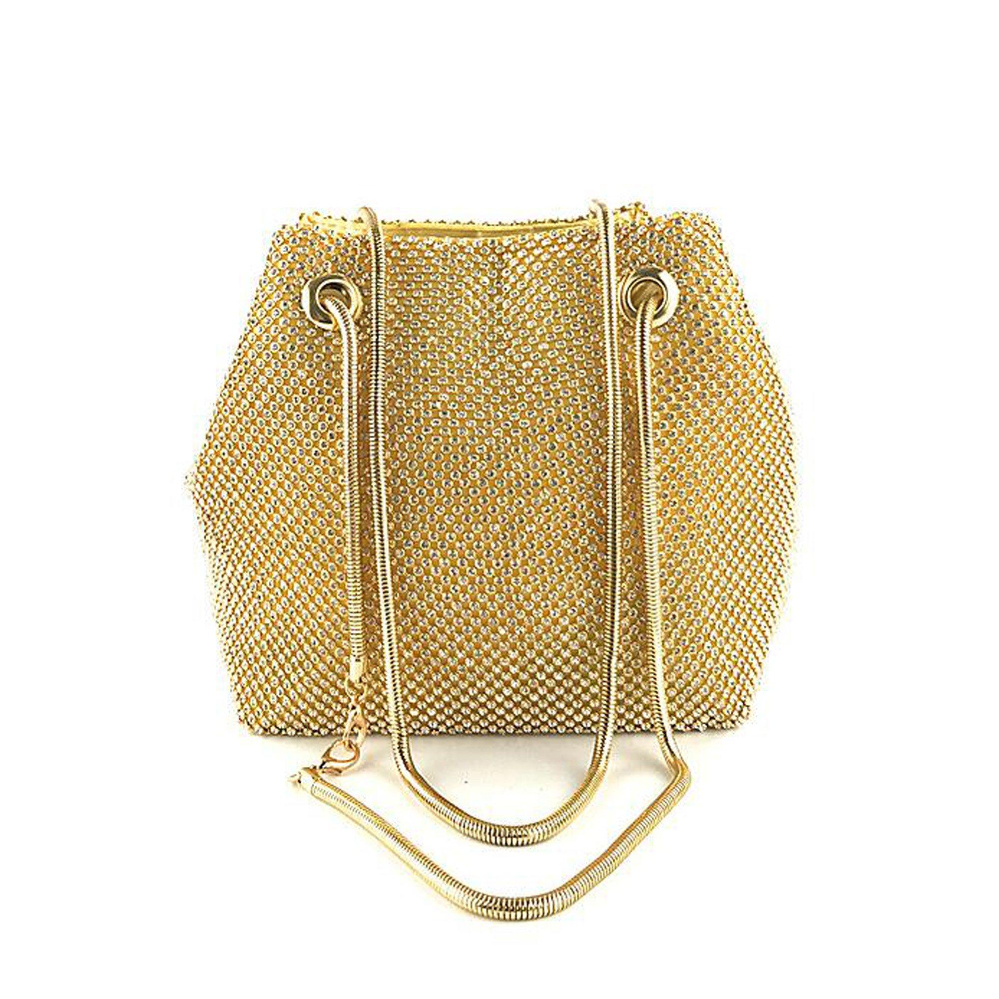 Women Girls Crystal Rhinestone Mini Bucket Evening Bags Handbags Wedding Clutch Shoulder Purse Party (gold)