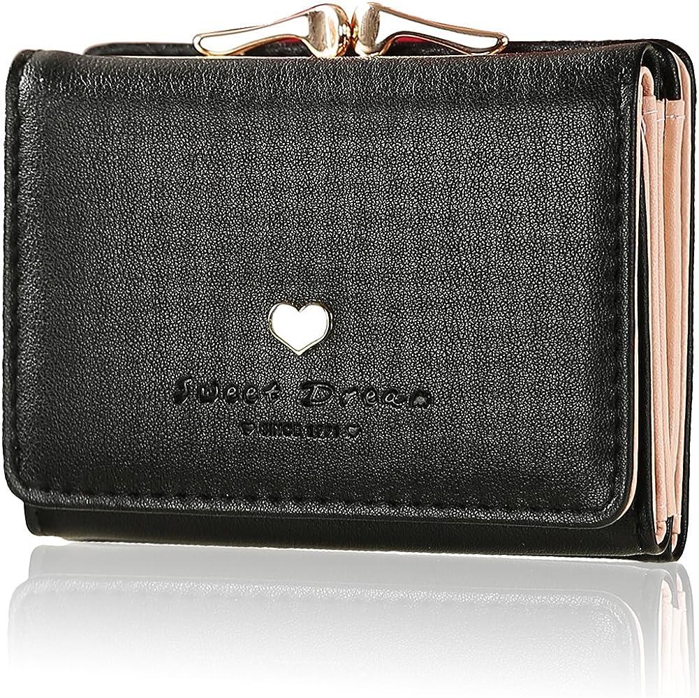 cccfda433a49 ミニ財布 レディース 人気 KQueenstar 小さい財布 がま口 カワイイ レザー コンパクト ハート ウォレット カード小銭入れ