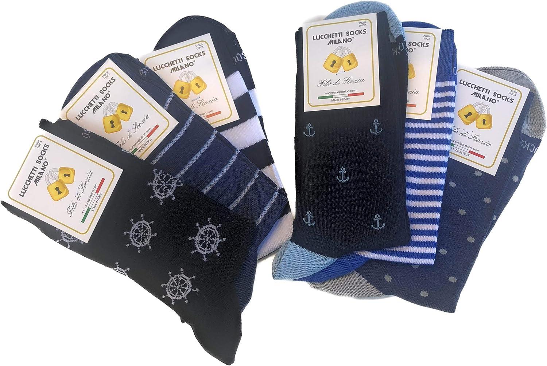Candados Socks Milano 6 pares de calcetines cortos de algodón hilo de Escocia elástico de verano en fantasía Set Amerigo 43-46 Talla única: Amazon.es: Ropa y accesorios