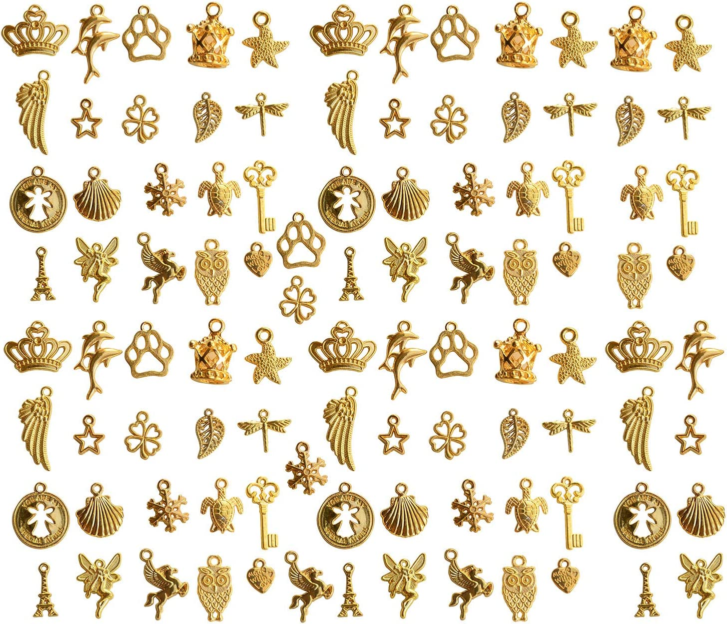 Pack of 100 Mixed Charms Gold DIY Charms Pendant for Crafting, Jewelry Making Accessory (100pcs Mixed 20 styles Gold)