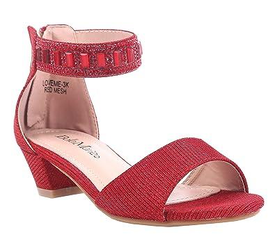 b4dcac1e8d8 Fashion Rhinestones Kids 1.25 quot  Kitten Heels Nesting Glitter Blink  Sparkling Sandals Girls Youth Party Dress
