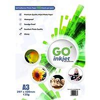 Papier Photo Brillant 100feuilles A3autocollant: Blanc Brillant Papier Photo Jet d'encre, imperméable, compatible avec jet d'encre et imprimantes photo de Go