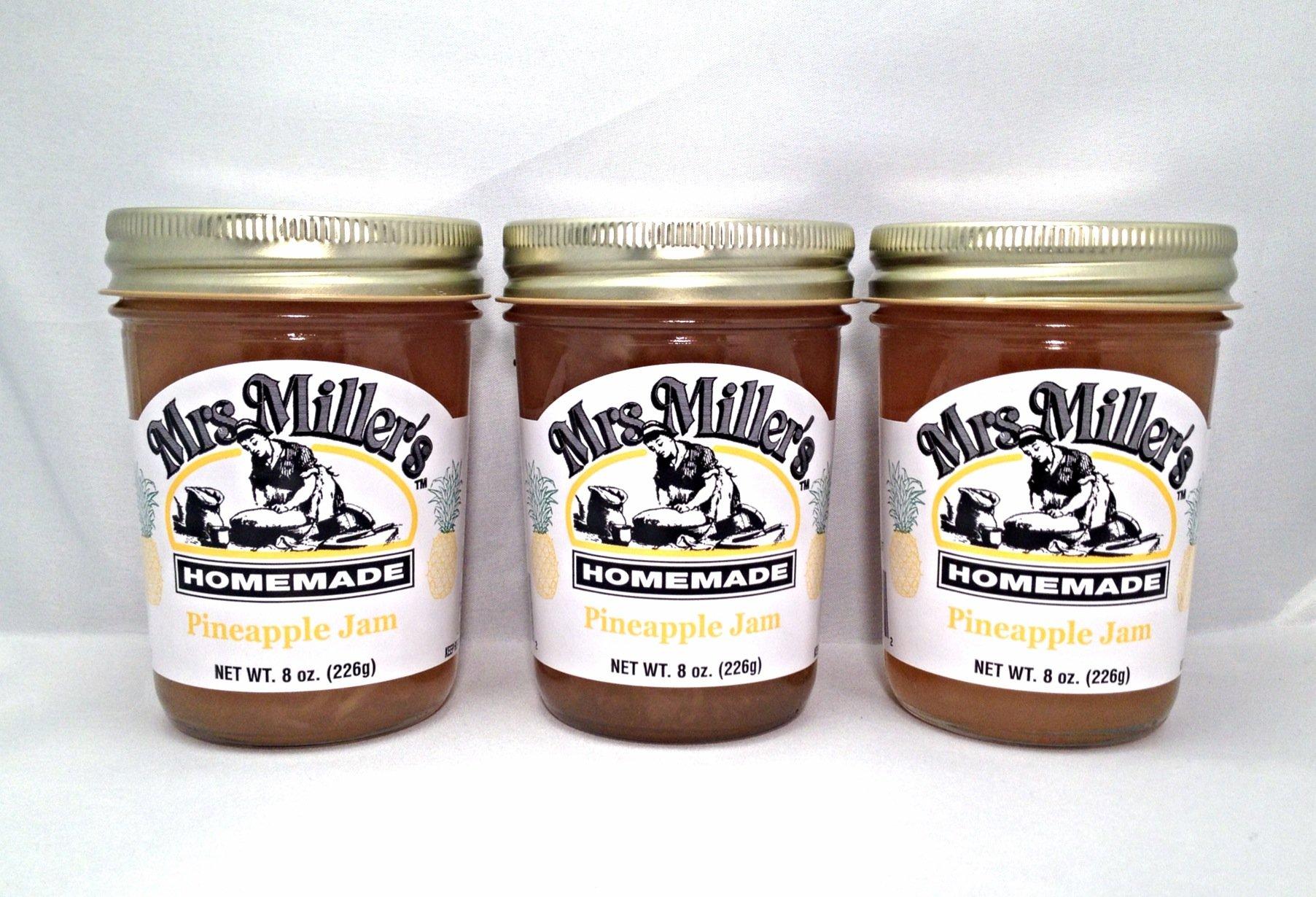 Mrs. Miller's Amish Homemade Pineapple Jam 8 Oz. - Pack of 3 (Boxed)