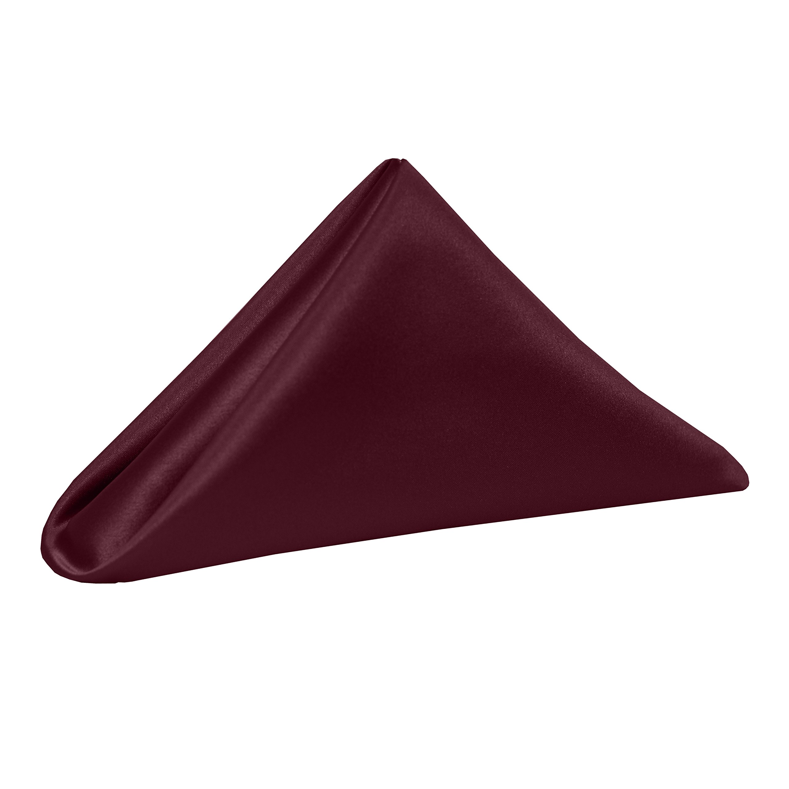 Ultimate Textile -3 Dozen- Bridal Satin 20 x 20-Inch Dinner Napkins, Burgundy Red