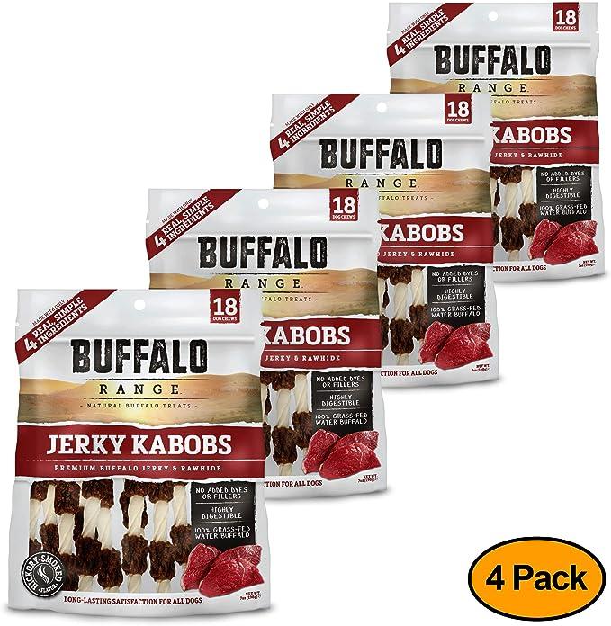 Buffalo Range Rawhide Dog Treats | Healthy, Grass-Fed Buffalo Jerky Raw Hide Chews | Hickory Smoked Flavor | Jerky Kabob