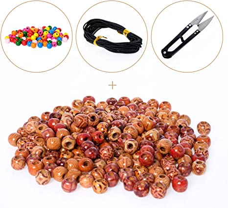 Colorful Wood Crafts Beads 150pc Assorted Colors and Sizes