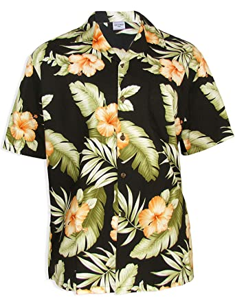 e3aa41b2 Orange Hibiscus Hawaiian Shirt at Amazon Men's Clothing store: Button Down  Shirts