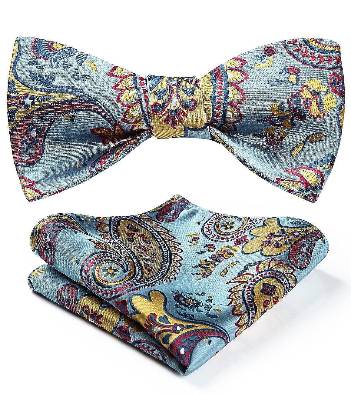HISDERN Men's Paisley Floral Wedding Party Self Bow Tie Pocket Square Set BFS003QS-6
