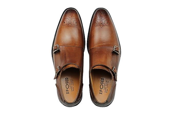 c331873d43e6 Xposed Homme Cuir véritable Marron Mod Double Moine Sangle Chaussures  Classique Formelle Chaussures  Amazon.fr  Chaussures et Sacs