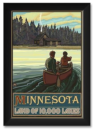 Minnesota Lake Canoers Forest Cabin Framed Art Print by Paul A. Lanquist. Print Size 12 x 18 Framed Art Size 14 x 20