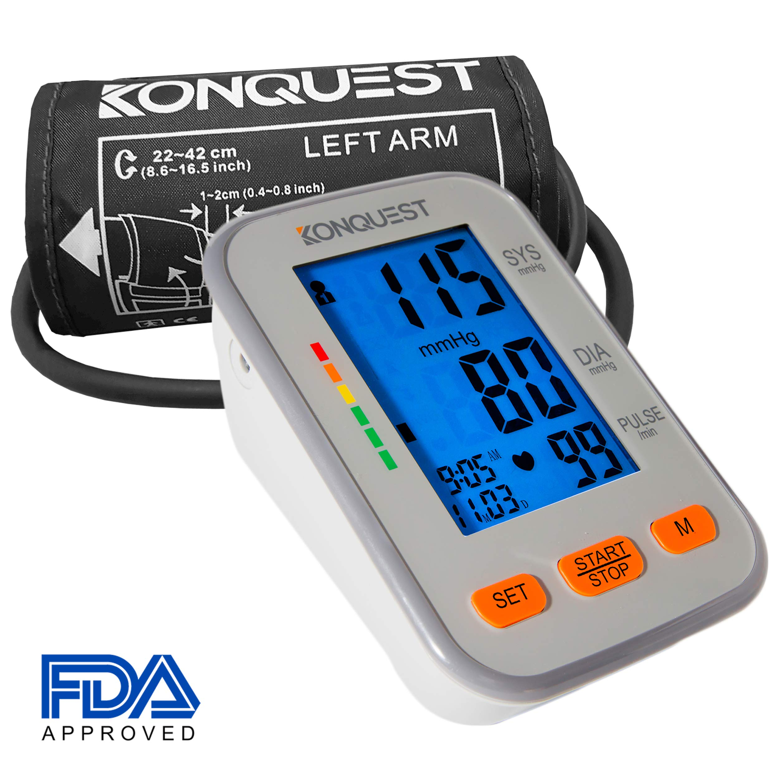 Konquest KBP-2704A Automatic Upper Arm Blood Pressure Monitor - Accurate, FDA Approved - Adjustable Cuff, Large Screen Display, Portable Case - Irregular Heartbeat & Hypertension Detector