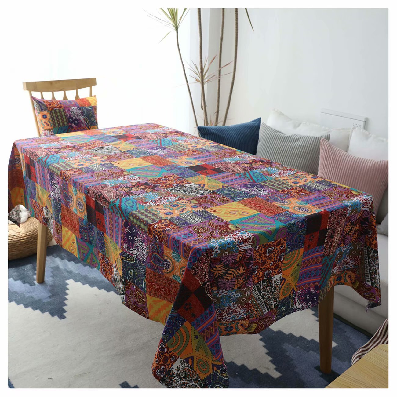 YOUTODRESS Bohemian Printed Tablecloth Multi Colored Rectangular Abstract Waterproof Table Cover