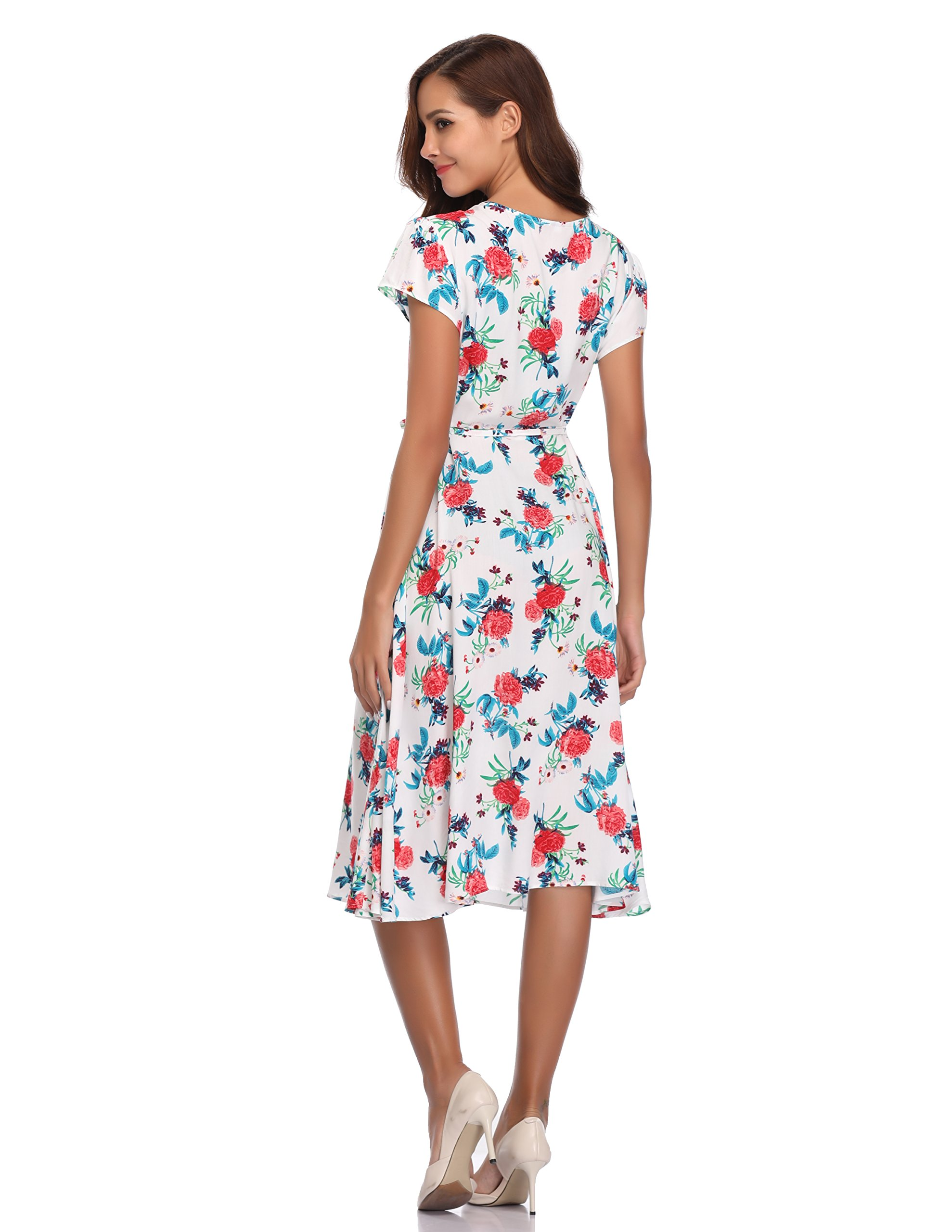 Floating Time Women's Floral Print Short Sleeve Midi Wrap Dress(S, CF42583-3) by Floating Time (Image #5)