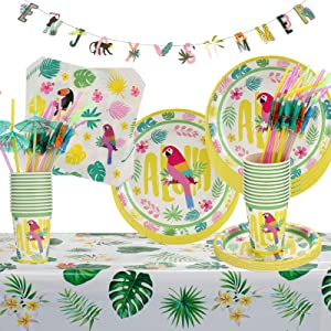 Hawaiian Party Decoration Supplies - Cute Enjoy Summer Banner and Disposable Summer Hawaiian Themed Tableware Includes Plates,Cups,Napkins,Straws,Tablecloth for Tropical Birthday Party - Serves 24