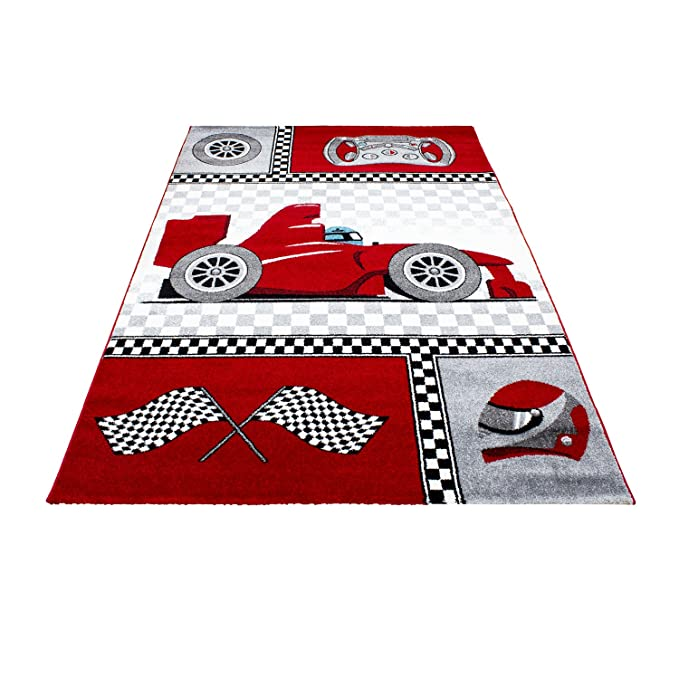80 x 150 cm Childrens Rug Speedy Red Formula 1/Car Design Perfect for Small and//Oeko-Tex /® Standard 100