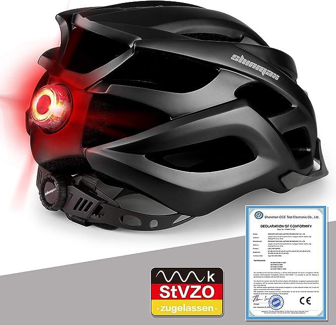 Unisex-gesch/ützter Fahrradhelm f/ür Radrennen Skateboardfahren im Freien Sicherheit Superleichter Verstellbarer Fahrradhelm mit CE-Zertifikat KINGLEAD Fahrradhelm mit LED Licht Schwarz Gr/ün