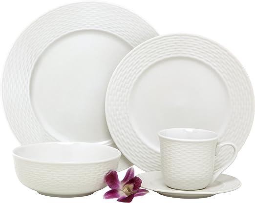 Amazon.com: Melange BLY-04W40 Juego de vajilla de porcelana ...