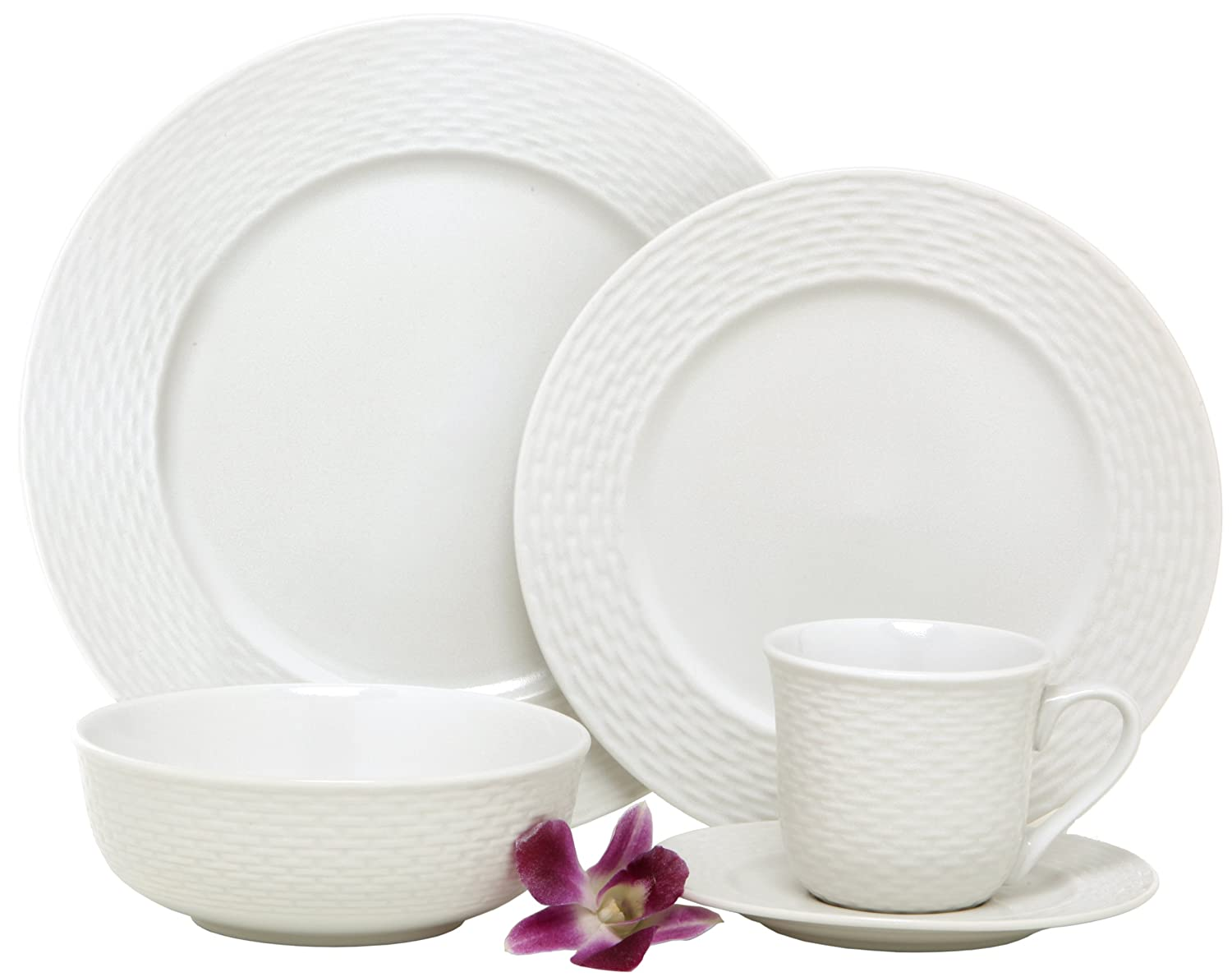 amazoncom melange 40piece porcelain dinnerware set nantucket weave service for 8 microwave dishwasher u0026 oven safe dinner plate salad plate
