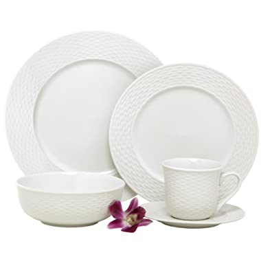 Melange BLY-04W40 40-Piece Porcelain Dinnerware Set (Nantucket Weave) | Service for 8 | Microwave, Dishwasher & Oven Safe | Dinner, Salad Plate, Soup Bowl, (Serving for 8), White