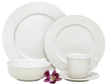 Amazon.com   Melange 40-Piece Porcelain Dinnerware Set (Nantucket Weave)   Service for 8   Microwave Dishwasher \u0026 Oven Safe   Dinner Plate Salad Plate ...  sc 1 st  Amazon.com & Amazon.com   Melange 40-Piece Porcelain Dinnerware Set (Nantucket ...