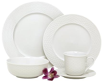 Melange 40-Piece Porcelain Dinnerware Set (Nantucket Weave) | Service for 8 |  sc 1 st  Amazon.com & Amazon.com | Melange 40-Piece Porcelain Dinnerware Set (Nantucket ...