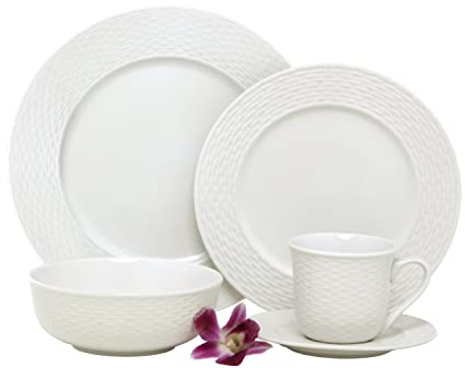 Amazon.com | Melange 40-Piece Porcelain Dinnerware Set (Nantucket ...