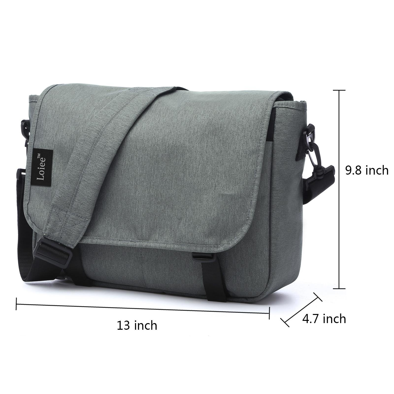Loiee 14 inches Classic Canvas Messenger Bag,Water Resistant Vintage School Bag,Grey by Loiee (Image #2)