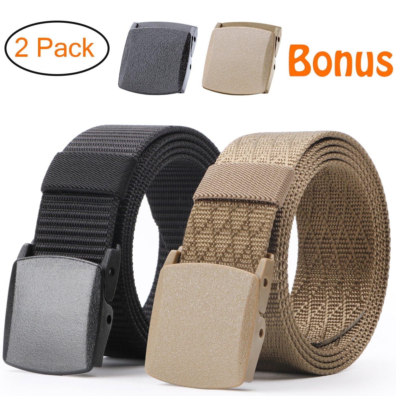 JASGOOD Nylon Canvas Breathable Military Tactical Men Waist Belt With Plastic Buckle CA015-Black+Black2-120cm